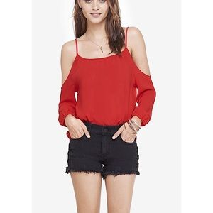 Express Bright Red Cold Shoulder Sleeved Top